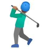 Man Golfing: Medium Skin Tone on Google Android 11.0 December 2020 Feature Drop