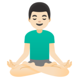 Man in Lotus Position: Light Skin Tone on Google Android 11.0 December 2020 Feature Drop