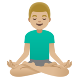 Man in Lotus Position: Medium-Light Skin Tone on Google Android 11.0 December 2020 Feature Drop