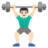 Man Lifting Weights: Light Skin Tone on Google Android 11.0 December 2020 Feature Drop