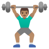 Man Lifting Weights: Medium Skin Tone on Google Android 11.0 December 2020 Feature Drop