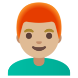 Man: Medium-Light Skin Tone, Red Hair on Google Android 11.0 December 2020 Feature Drop