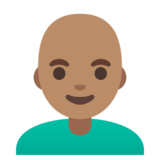 Man: Medium Skin Tone, Bald on Google Android 11.0 December 2020 Feature Drop