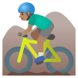 Man Mountain Biking: Medium Skin Tone on Google Android 11.0 December 2020 Feature Drop