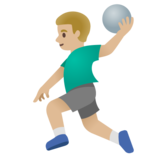 Man Playing Handball: Medium-Light Skin Tone on Google Android 11.0 December 2020 Feature Drop