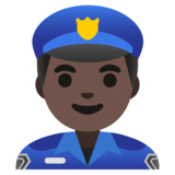 Man Police Officer: Dark Skin Tone on Google Android 11.0 December 2020 Feature Drop