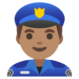 Man Police Officer: Medium Skin Tone on Google Android 11.0 December 2020 Feature Drop