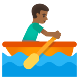 Man Rowing Boat: Medium-Dark Skin Tone on Google Android 11.0 December 2020 Feature Drop