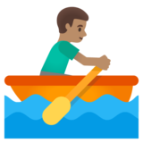 Man Rowing Boat: Medium Skin Tone on Google Android 11.0 December 2020 Feature Drop