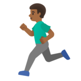 Man Running: Medium-Dark Skin Tone on Google Android 11.0 December 2020 Feature Drop