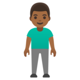 Man Standing: Medium-Dark Skin Tone on Google Android 11.0 December 2020 Feature Drop