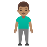 Man Standing: Medium Skin Tone on Google Android 11.0 December 2020 Feature Drop