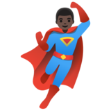 Man Superhero: Dark Skin Tone on Google Android 11.0 December 2020 Feature Drop