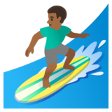 Man Surfing: Medium-Dark Skin Tone on Google Android 11.0 December 2020 Feature Drop