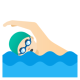 Man Swimming: Light Skin Tone on Google Android 11.0 December 2020 Feature Drop