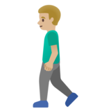 Man Walking: Medium-Light Skin Tone on Google Android 11.0 December 2020 Feature Drop