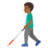 Man with White Cane: Medium-Dark Skin Tone on Google Android 11.0 December 2020 Feature Drop