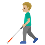 Man with White Cane: Medium-Light Skin Tone on Google Android 11.0 December 2020 Feature Drop