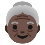 Old Woman: Dark Skin Tone on Google Android 11.0 December 2020 Feature Drop