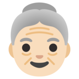 Old Woman: Light Skin Tone on Google Android 11.0 December 2020 Feature Drop