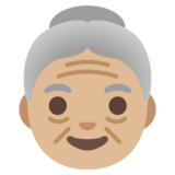 Old Woman: Medium-Light Skin Tone on Google Android 11.0 December 2020 Feature Drop