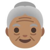 Old Woman: Medium Skin Tone on Google Android 11.0 December 2020 Feature Drop