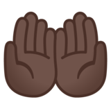 Palms Up Together: Dark Skin Tone on Google Android 11.0 December 2020 Feature Drop