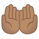 Palms Up Together: Medium Skin Tone on Google Android 11.0 December 2020 Feature Drop