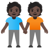 People Holding Hands: Dark Skin Tone on Google Android 11.0 December 2020 Feature Drop
