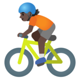 Person Biking: Dark Skin Tone on Google Android 11.0 December 2020 Feature Drop