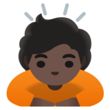 Person Bowing: Dark Skin Tone on Google Android 11.0 December 2020 Feature Drop