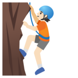 Person Climbing: Light Skin Tone on Google Android 11.0 December 2020 Feature Drop