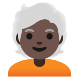 Person: Dark Skin Tone, White Hair on Google Android 11.0 December 2020 Feature Drop