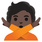 Person Gesturing No: Dark Skin Tone on Google Android 11.0 December 2020 Feature Drop