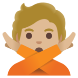 Person Gesturing No: Medium-Light Skin Tone on Google Android 11.0 December 2020 Feature Drop