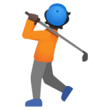 Person Golfing: Dark Skin Tone on Google Android 11.0 December 2020 Feature Drop
