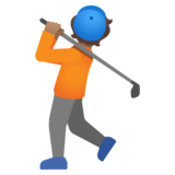 Person Golfing: Medium Skin Tone on Google Android 11.0 December 2020 Feature Drop