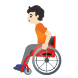Person in Manual Wheelchair: Light Skin Tone on Google Android 11.0 December 2020 Feature Drop