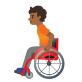 Person in Manual Wheelchair: Medium-Dark Skin Tone on Google Android 11.0 December 2020 Feature Drop