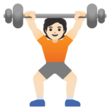 Person Lifting Weights: Light Skin Tone on Google Android 11.0 December 2020 Feature Drop