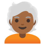 Person: Medium-Dark Skin Tone, White Hair on Google Android 11.0 December 2020 Feature Drop