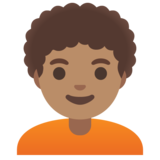 Person: Medium Skin Tone, Curly Hair on Google Android 11.0 December 2020 Feature Drop
