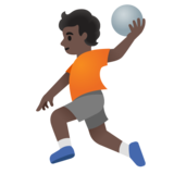 Person Playing Handball: Dark Skin Tone on Google Android 11.0 December 2020 Feature Drop