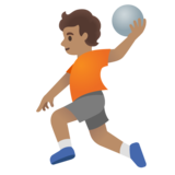 Person Playing Handball: Medium Skin Tone on Google Android 11.0 December 2020 Feature Drop