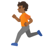 Person Running: Medium-Dark Skin Tone on Google Android 11.0 December 2020 Feature Drop