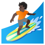 Person Surfing: Dark Skin Tone on Google Android 11.0 December 2020 Feature Drop