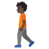 Person Walking: Dark Skin Tone on Google Android 11.0 December 2020 Feature Drop
