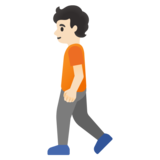 Person Walking: Light Skin Tone on Google Android 11.0 December 2020 Feature Drop