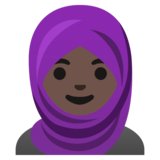 Woman with Headscarf: Dark Skin Tone on Google Android 11.0 December 2020 Feature Drop