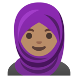 Woman with Headscarf: Medium Skin Tone on Google Android 11.0 December 2020 Feature Drop